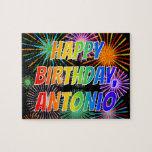 """[ Thumbnail: First Name """"Antonio"""", Fun """"Happy Birthday"""" Jigsaw Puzzle ]"""