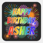 """[ Thumbnail: First Name """"Asher"""", Fun """"Happy Birthday"""" Sticker ]"""