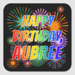 "[ Thumbnail: First Name ""Aubree"", Fun ""Happy Birthday"" Sticker ]"