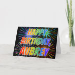 "[ Thumbnail: First Name ""Aubrey"" Fun ""Happy Birthday"" Card ]"