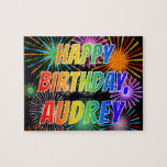 "[ Thumbnail: First Name ""Audrey"", Fun ""Happy Birthday"" Jigsaw Puzzle ]"