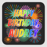"[ Thumbnail: First Name ""Audrey"", Fun ""Happy Birthday"" Sticker ]"