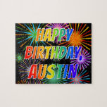 "[ Thumbnail: First Name ""Austin"", Fun ""Happy Birthday"" Jigsaw Puzzle ]"