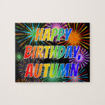"[ Thumbnail: First Name ""Autumn"", Fun ""Happy Birthday"" Jigsaw Puzzle ]"