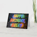 "[ Thumbnail: First Name ""Avery"" Fun ""Happy Birthday"" Card ]"
