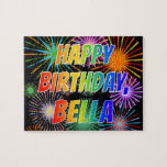 "[ Thumbnail: First Name ""Bella"", Fun ""Happy Birthday"" Jigsaw Puzzle ]"