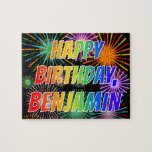 "[ Thumbnail: First Name ""Benjamin"", Fun ""Happy Birthday"" Jigsaw Puzzle ]"