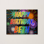 "[ Thumbnail: First Name ""Beth"", Fun ""Happy Birthday"" Jigsaw Puzzle ]"