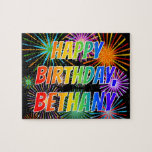 "[ Thumbnail: First Name ""Bethany"", Fun ""Happy Birthday"" Jigsaw Puzzle ]"
