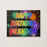 "[ Thumbnail: First Name ""Brandon"", Fun ""Happy Birthday"" Jigsaw Puzzle ]"