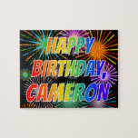 "[ Thumbnail: First Name ""Cameron"", Fun ""Happy Birthday"" Jigsaw Puzzle ]"