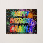 "[ Thumbnail: First Name ""Camila"", Fun ""Happy Birthday"" Jigsaw Puzzle ]"