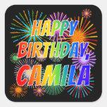 """[ Thumbnail: First Name """"Camila"""", Fun """"Happy Birthday"""" Sticker ]"""