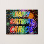 "[ Thumbnail: First Name ""Carlos"", Fun ""Happy Birthday"" Jigsaw Puzzle ]"