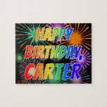 "[ Thumbnail: First Name ""Carter"", Fun ""Happy Birthday"" Jigsaw Puzzle ]"