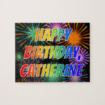 """[ Thumbnail: First Name """"Catherine"""", Fun """"Happy Birthday"""" Jigsaw Puzzle ]"""