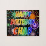 "[ Thumbnail: First Name ""Chad"", Fun ""Happy Birthday"" Jigsaw Puzzle ]"