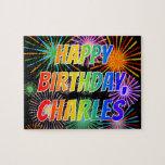 "[ Thumbnail: First Name ""Charles"", Fun ""Happy Birthday"" Jigsaw Puzzle ]"