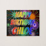 "[ Thumbnail: First Name ""Chloe"", Fun ""Happy Birthday"" Jigsaw Puzzle ]"