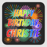 """[ Thumbnail: First Name """"Christie"""", Fun """"Happy Birthday"""" Sticker ]"""