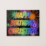 "[ Thumbnail: First Name ""Christina"", Fun ""Happy Birthday"" Jigsaw Puzzle ]"