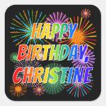 "[ Thumbnail: First Name ""Christine"", Fun ""Happy Birthday"" Sticker ]"