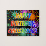 """[ Thumbnail: First Name """"Christopher"""", Fun """"Happy Birthday"""" Jigsaw Puzzle ]"""