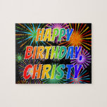 """[ Thumbnail: First Name """"Christy"""", Fun """"Happy Birthday"""" Jigsaw Puzzle ]"""