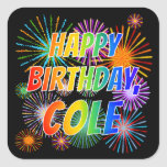 "[ Thumbnail: First Name ""Cole"", Fun ""Happy Birthday"" Sticker ]"