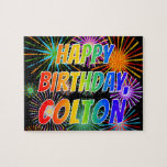 "[ Thumbnail: First Name ""Colton"", Fun ""Happy Birthday"" Jigsaw Puzzle ]"