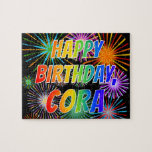 "[ Thumbnail: First Name ""Cora"", Fun ""Happy Birthday"" Jigsaw Puzzle ]"