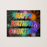 "[ Thumbnail: First Name ""Courtney"", Fun ""Happy Birthday"" Jigsaw Puzzle ]"