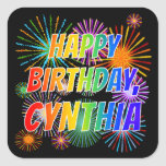 "[ Thumbnail: First Name ""Cynthia"", Fun ""Happy Birthday"" Sticker ]"