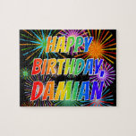 "[ Thumbnail: First Name ""Damian"", Fun ""Happy Birthday"" Jigsaw Puzzle ]"