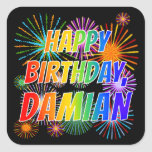 "[ Thumbnail: First Name ""Damian"", Fun ""Happy Birthday"" Sticker ]"