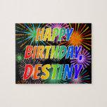 "[ Thumbnail: First Name ""Destiny"", Fun ""Happy Birthday"" Jigsaw Puzzle ]"