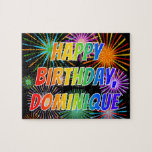 """[ Thumbnail: First Name """"Dominique"""", Fun """"Happy Birthday"""" Jigsaw Puzzle ]"""