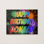 "[ Thumbnail: First Name ""Donald"", Fun ""Happy Birthday"" Jigsaw Puzzle ]"