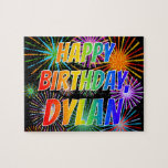 "[ Thumbnail: First Name ""Dylan"", Fun ""Happy Birthday"" Jigsaw Puzzle ]"
