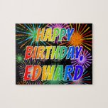 "[ Thumbnail: First Name ""Edward"", Fun ""Happy Birthday"" Jigsaw Puzzle ]"