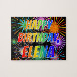 "[ Thumbnail: First Name ""Elena"", Fun ""Happy Birthday"" Jigsaw Puzzle ]"