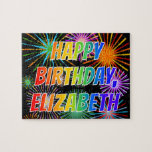 "[ Thumbnail: First Name ""Elizabeth"", Fun ""Happy Birthday"" Jigsaw Puzzle ]"