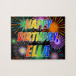 "[ Thumbnail: First Name ""Ella"", Fun ""Happy Birthday"" Jigsaw Puzzle ]"