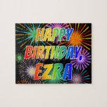 """[ Thumbnail: First Name """"Ezra"""", Fun """"Happy Birthday"""" Jigsaw Puzzle ]"""