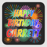 "[ Thumbnail: First Name ""Garrett"", Fun ""Happy Birthday"" Sticker ]"