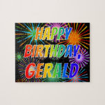"""[ Thumbnail: First Name """"Gerald"""", Fun """"Happy Birthday"""" Jigsaw Puzzle ]"""