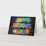 "[ Thumbnail: First Name ""Gina"" Fun ""Happy Birthday"" Card ]"