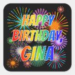 """[ Thumbnail: First Name """"Gina"""", Fun """"Happy Birthday"""" Sticker ]"""
