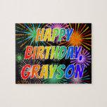 "[ Thumbnail: First Name ""Grayson"", Fun ""Happy Birthday"" Jigsaw Puzzle ]"