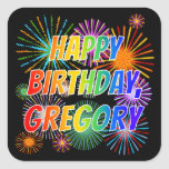 """[ Thumbnail: First Name """"Gregory"""", Fun """"Happy Birthday"""" Sticker ]"""